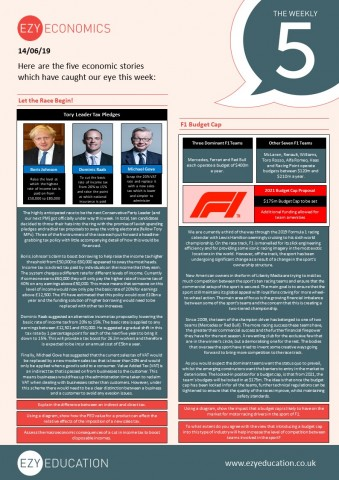 Economics Weekly 5 - Tory Tax Policies, F1 Budget Cap, Help to Buy Scheme, Jobs Market, Cash Trends