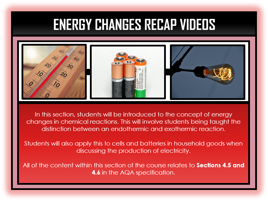 Combined Science Snapshots - Energy Changes Section