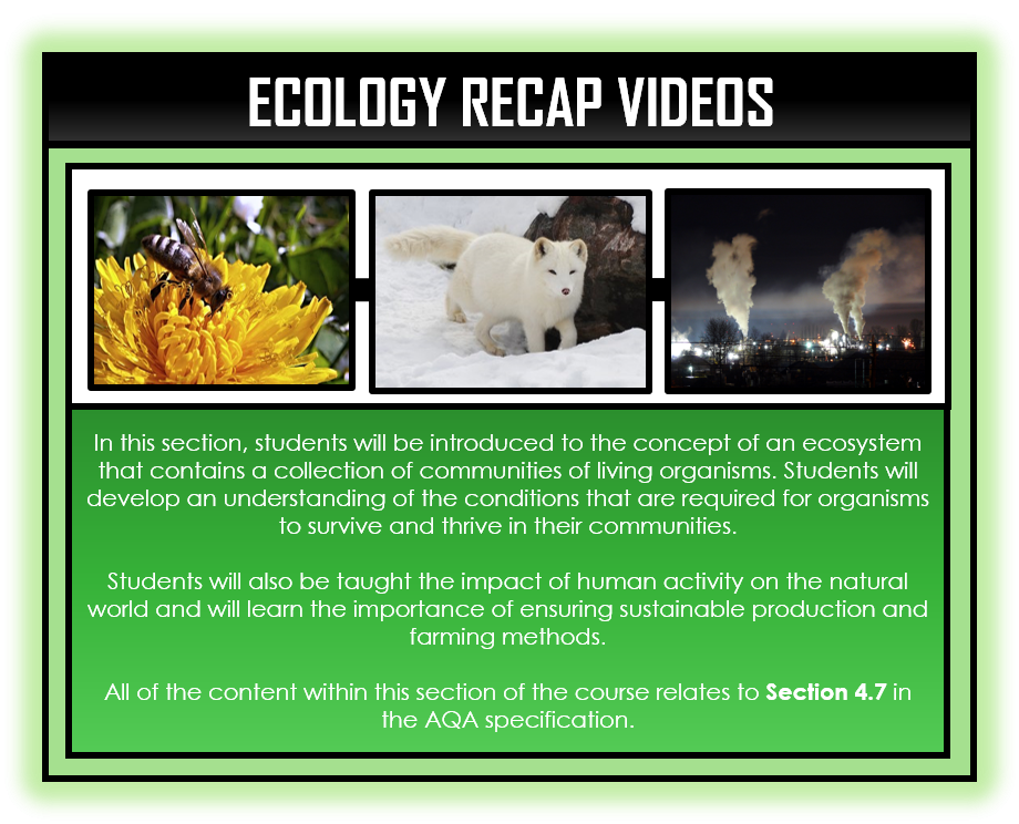 Combined Science Snapshots - Ecology Section